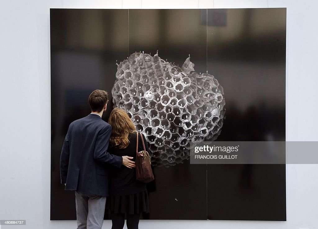 Visitors look at an artwork by Gao brothers entitled 'Outer space 6' during the 'Art Paris Art Fair' in Paris on March 26 2014 AFP PHOTO / FRANCOIS...