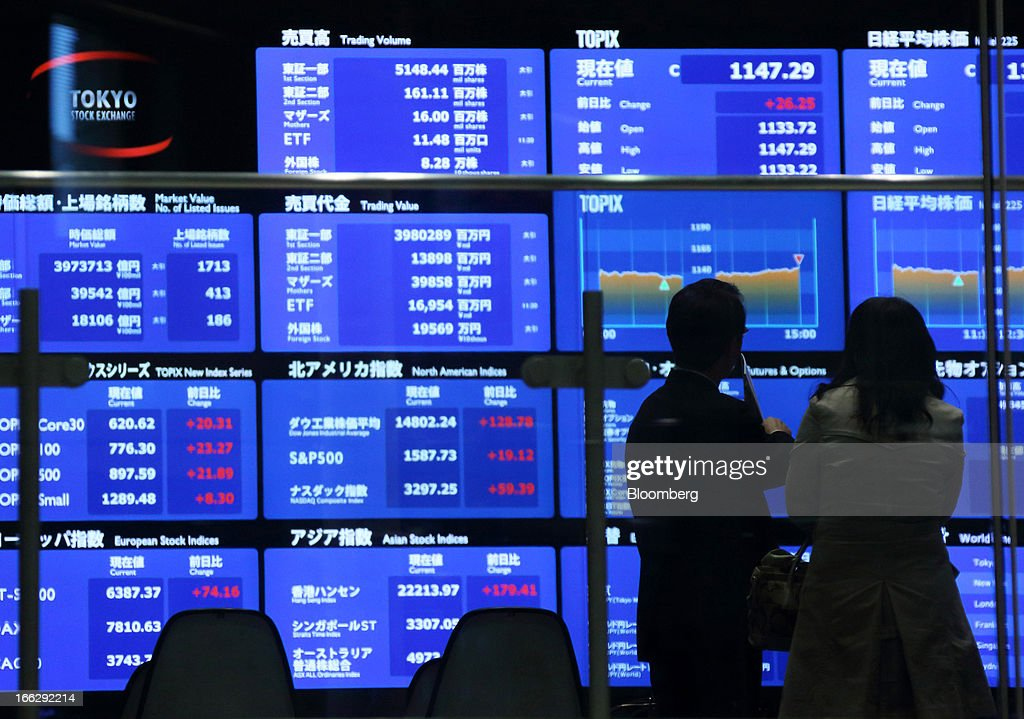 Visitors look at an electronic board at the Tokyo Stock Exchange in Tokyo, Japan, on Thursday, April 11, 2013. Japanese shares gained, with the Topix Index posting its longest winning streak in more than a year, after the yen neared 100 to the dollar and the Bank of Japan pledged again to do what's needed to reach an inflation goal within two years. Photographer: Tomohiro Ohsumi/Bloomberg via Getty Images