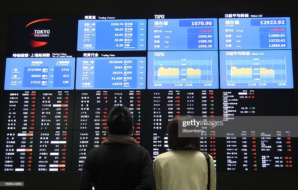 Visitors look at electronic boards displaying stock prices at the Tokyo Stock Exchange in Tokyo, Japan, on Friday, April 5, 2013. Japanese stocks surged, with the Nikkei 225 Stock Average capping the biggest three-day rally in two years, after Haruhiko Kuroda announced unprecedented stimulus in his first policy meeting as Bank of Japan governor. Photographer: Junko Kimura/Bloomberg via Getty Images