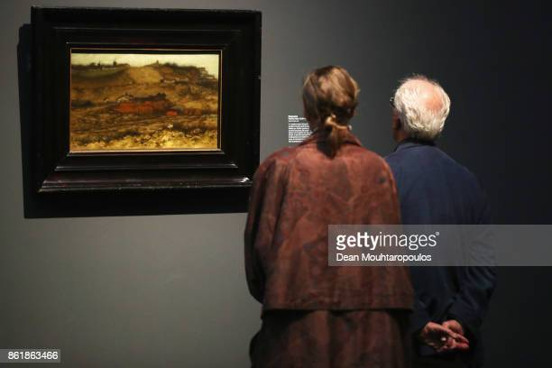 A visitors look at Montmartre by Matthijs Maris during a special exhibition held at the Rijksmuseum Exhibition on October 13 2017 in Amsterdam...