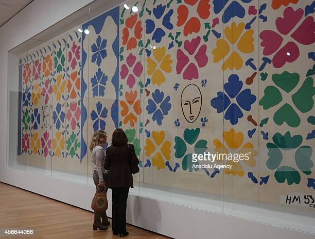Visitors look at the art work 'Grande Decoration aux Masques ' by the French artist Henri Matisse during the Private View of upcoming exhibition...