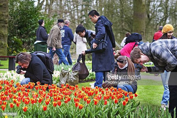 Visitors look at the flowers in the Keukenhof the world's largest bulb garden in Lisse on April 5 2010 AFP PHOTO / ANP ROBIN UTRECHT netherlands out...