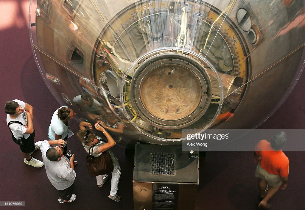 People Look At Apollo 11 Exhibit The Day Of Neil Armstrong ...