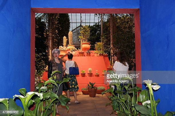 Visitors look at the Mexican painter Frida Kahlo's owned items displayed during the New York's Botanical Garden's exhibition Frida Kahlo Art Garden...