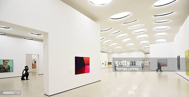 Visitors look at works of the Contemporary Art at Staedel Museum on March 13 2015 in Frankfurt am Main Germany The museum marks its 200th anniversary...