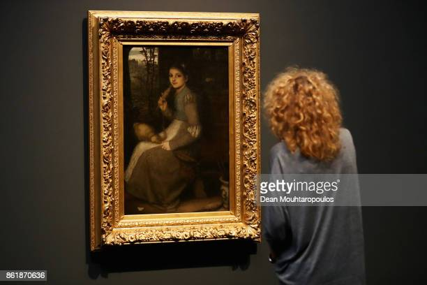 Visitors looks at The Spinner or Le Voila by Matthijs Maris during a special exhibition held at the Rijksmuseum Exhibition on October 13 2017 in...
