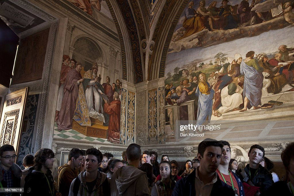 Visitor's make their way through The Vatican Museum's Raphael Room's on March 21 2013 in Rome Italy