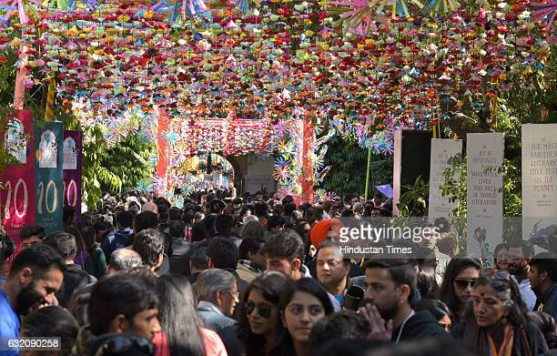 Visitors on the first day of the Jaipur Literature Festival 2017 at Diggi Palace on January 19 2017 in Jaipur India