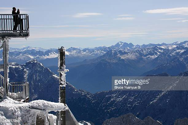 Visitors on viewing platform of Zugspitze.