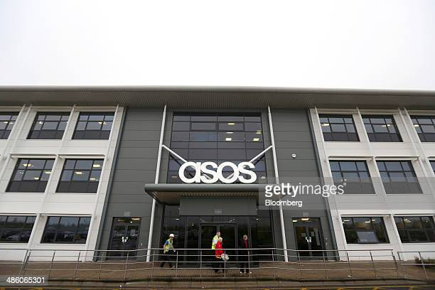 Visitors pass the main entrance to Asos Plc's distribution warehouse in Barnsley UK on Tuesday April 22 2014 Asos the UK's largest onlineonly fashion...