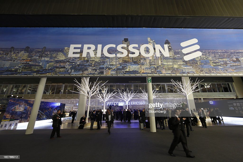 Visitors pass through the entrance to the Ericsson AB pavilion at the Mobile World Congress in Barcelona, Spain, on Tuesday, Feb. 26, 2013. The Mobile World Congress, where 1,500 exhibitors converge to discuss the future of wireless communication, is a global showcase for the mobile technology industry and runs from Feb. 25 through Feb. 28. Photographer: Simon Dawson/Bloomberg via Getty Images
