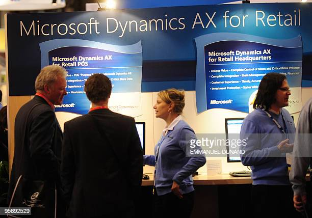 Visitors pay a visit to the Microsoft stand to have a preview of the soontobe released Microsoft Dynamics AX for Retail solution during the 2010...