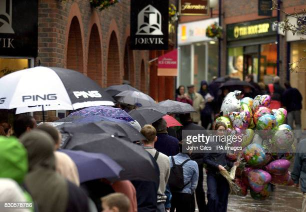Visitors queue in the rain for the Jorvik Centre in York which was reopened recently with a visit from Prime Minister Tony Blair when he encouraged...