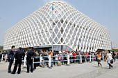 Visitors queue to enter the French pavilion on the first day of the World Expo 2010 in Shanghai on May 1 2010 Tens of thousands of people flooded...