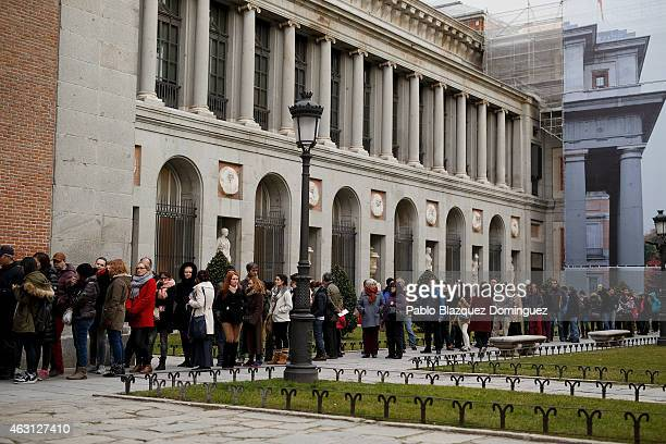 Visitors queue to enter the Prado Museum during the free of charge hours on February 10 2015 in Madrid Spain The Prado Museum is running an...