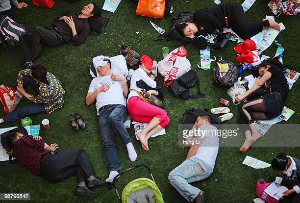 Visitors rest at Holland Pavilion on the second day of the Shanghai World Expo on May 2 2010 in Shanghai China The expo which runs through October 31...