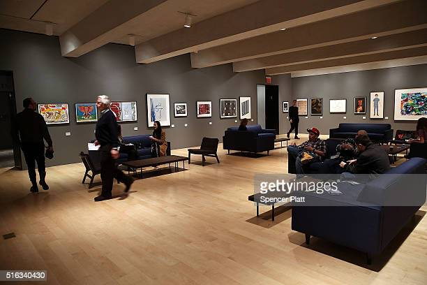 Visitors sit in the cafe on the opening day of the new museum The Met Breuer an expansion of the Metropolitan Museum of Art on March 18 2016 in New...