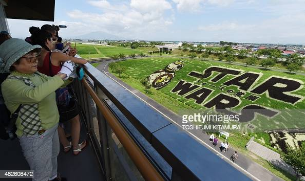 Visitors take pictures of the Star Wars rice paddy in Inakadate village in Aomori prefecture on August 1 2015 The Star Wars rice paddy was made to...