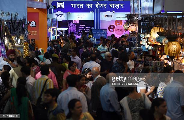 Visitors throng the exhibition halls at the 35th India International Trade fair in New Delhi on November 17 2015 More than 7000 national and...
