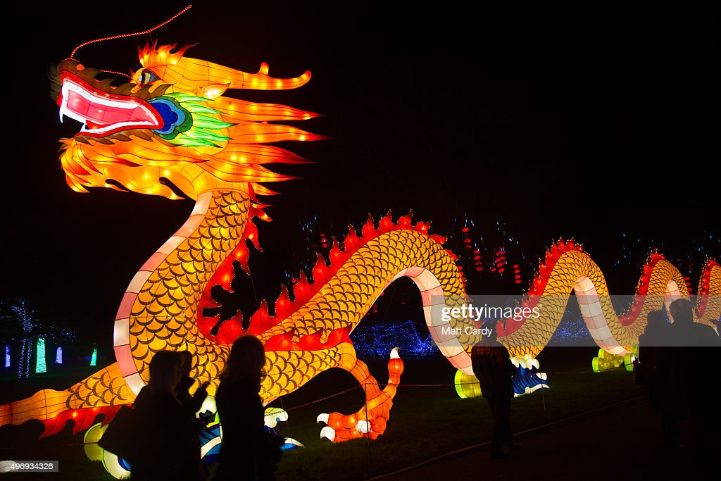 of light vip preview evening admire illuminated chinese dragon