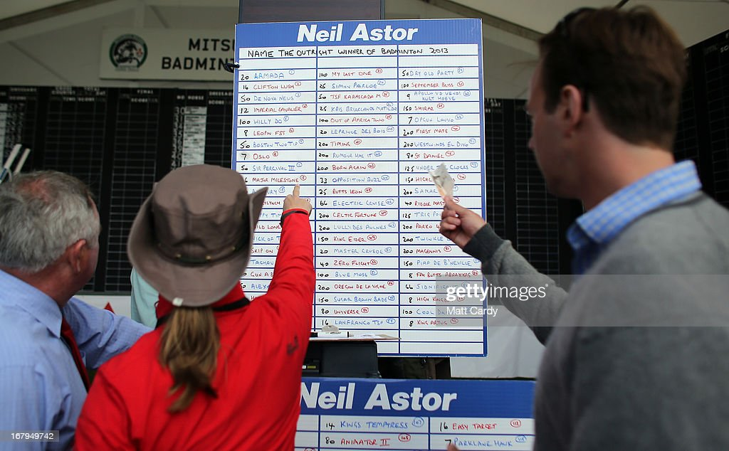 Visitors to the Badminton Horse Trials place bets on the likely overall winner, on the first full day of the Mitsubishi sponsored event on May 3, 2013 in Badminton, Gloucestershire. The event - which runs until Monday and is held on the Duke of Beaufort's estate, is now in its 22nd year but was cancelled last year due to flooding. It is widely seen by many as one of the highlights in the equestrian eventing calendar.