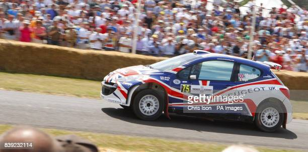 Visitors to the Festival of Speed watch the 2009 IRC Champion Kris Meeke in his Peugeot 207 S2000 at Goodwood near Chichester