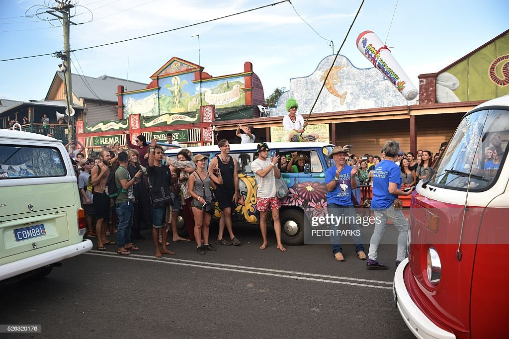 Visitors to the Mardi Grass festival take part in the 'Kombi Konvoy' as part of the Global Marijuana March in the eastern Australian town of Nimbin on April 30, 2016 . The festival, an annual cannabis law reform protest and gathering, attracts thousands of revellers from across Australia and around the world. / AFP / PETER