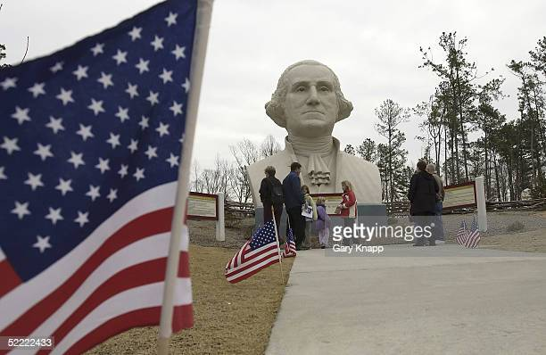 Visitors to the Presidents Parks are greeted by an 18 foot tall bust of George Washington the first president of the United States February 20 2005...