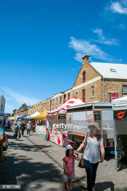 SALAMANCA HOBART TASMANIA AUSTRALIA Visitors to the Saturday Salamanca Market at Salamanca Place in Hobart Tasmania The arts and crafts market is one...