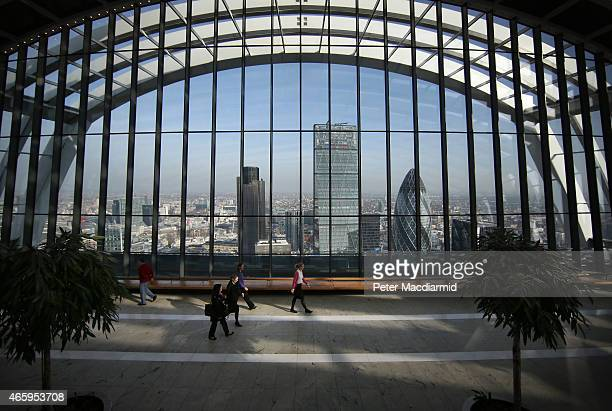 Visitors to the Sky Garden at 20 Fenchurch Street enjoy the view on March 12 2015 in London England Number 20 Fenchurch Street is London's newest...