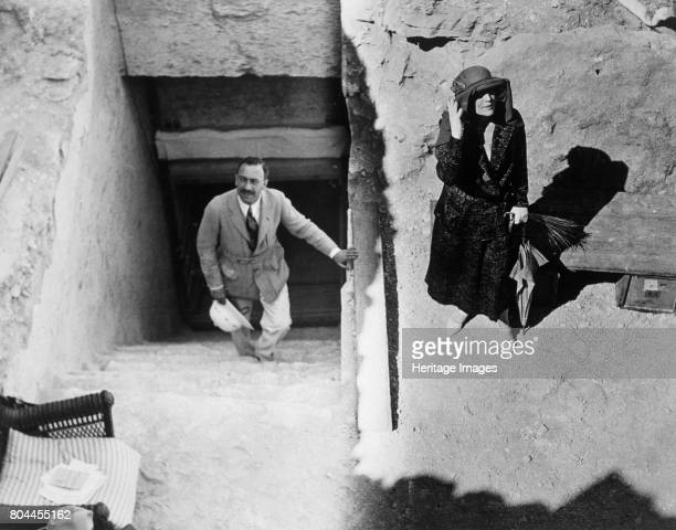 Visitors to the Tomb of Tutankhamun Valley of the Kings Egypt 1923 Mr Stephen Vlasto and Lady Ribblesdale at the entrance to the tomb The discovery...