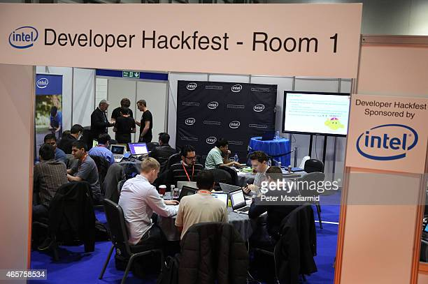Visitors to The Wearable Technology Show 2015 at ExCel take part in a developer hackfest on March 10 2015 in London England New technology on display...