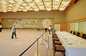 Visitors tour inside the FujinoMa banquet hall of the Kyoto State Guest House a Japanesestyle luxurious facility used to host foreign heads of state...