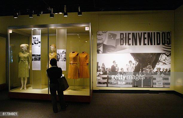 A visitors tours the Jacqueline Kennedy The White House Years Selections from the John F Kennedy Library and Museum at the Field Museum November 12...