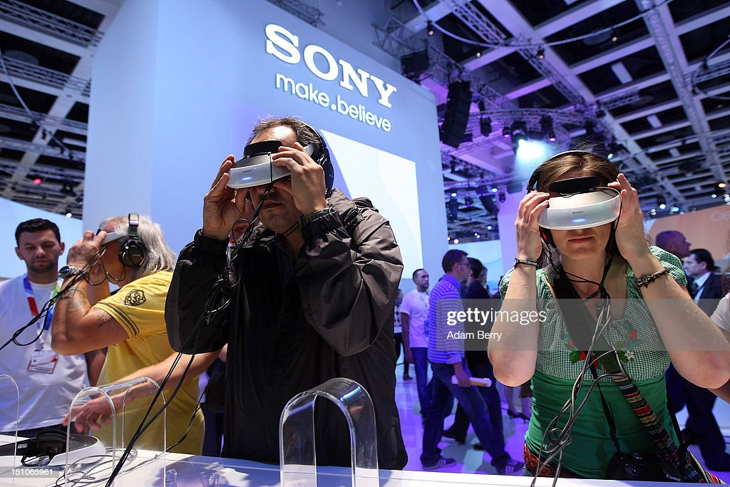 Visitors try out Sony HMZ-T2 personal 3-D movie viewers during the Internationale Funkausstellung (IFA) 2012 consumer electronics trade fair on August 31, 2012 in Berlin, Germany. Microsoft, Samsung, Sony, Panasonic and Philips are amongst many of the brands showcasing their latest consumer electronics hardware, software and gadgets to members of the public from August 31 to September 5.