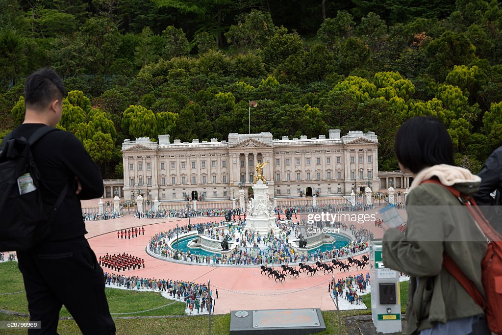Visitors view a scale model of Buckingham Palace at Tobu World Square theme park on May 01, 2016 in Nikko, Japan. Tobu World Square contains over a hundred 1:25 scale models of famous buildings, including World Heritage Sites, complete with 140,000 1:25 miniature people and receives visitors from around the world.