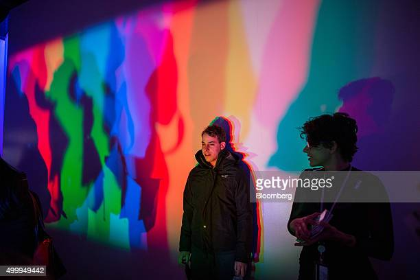 Visitors view an installation at the Museum of Feelings in New York US on Monday Nov 30 2015 The Museum of Feelings a three week pop up venue is a...