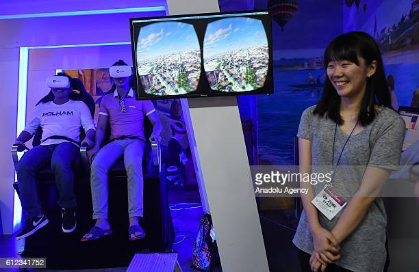 Visitors view and experience art works at Trick Eye Museum on October 3 2016 in Seoul South Korea The museum has about more than and 100 works on...