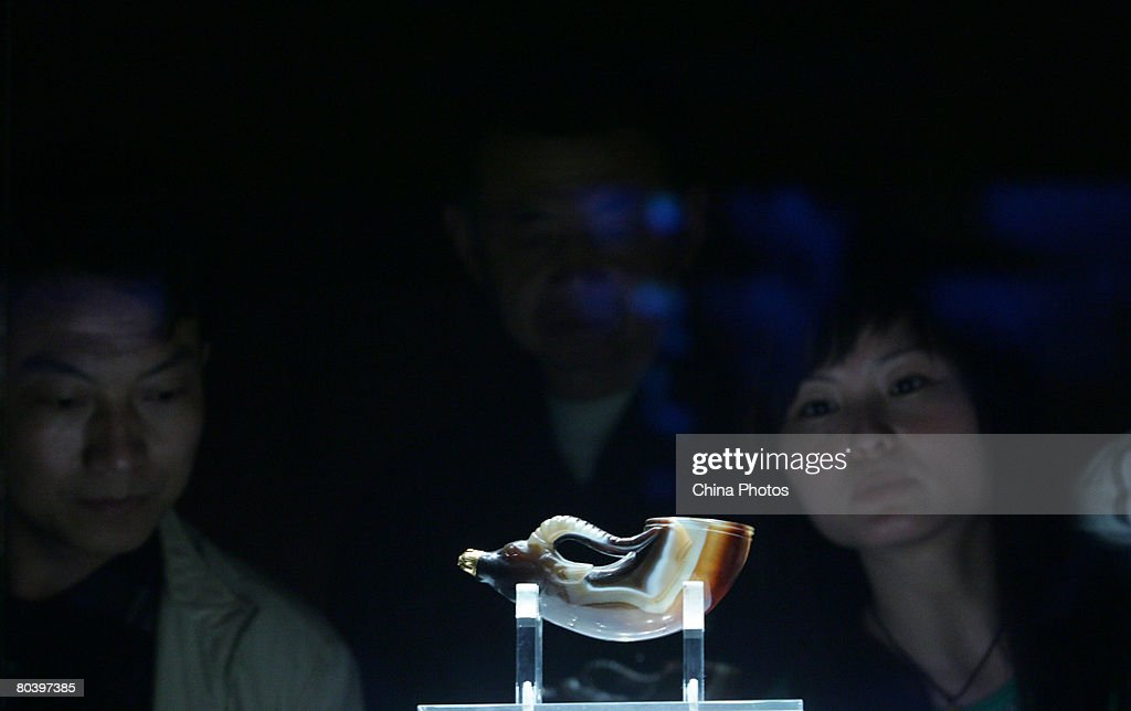 Visitors view the BeastHeadShaped Agate Cup of Tang Dynasty in the Shaanxi History Museum March 27 2008 in Xian of the Shaanxi Province China...
