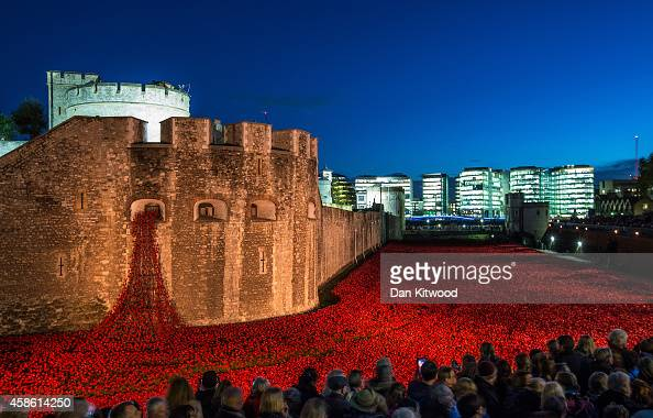 Visitors view the 'Blood Swept Lands and Seas of Red' installation at the Tower of London on November 7 2014 in London England The installation by...