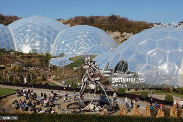Visitors walk around the biodomes at the Eden Project on March 17 2009 near St Austell England After one of the coldest winters for decades many...