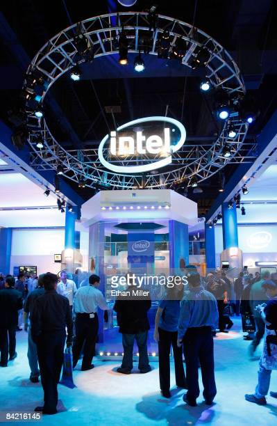 Visitors walk around the Intel Corp booth at the 2009 International Consumer Electronics Show at the Las Vegas Convention Center January 8 2009 in...