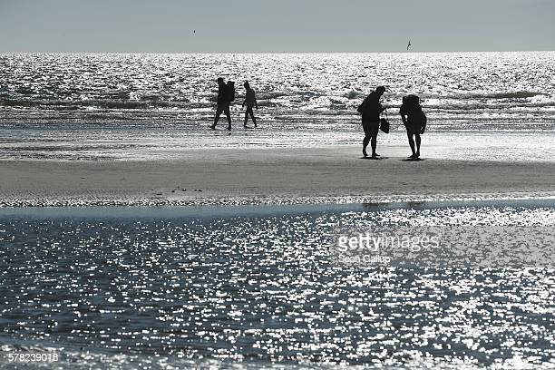 Visitors walk on mud flats at a beach at sunset on July 18 2016 at SanktPeterOrding Germany SanktPeterOrding is among the top destinations for...