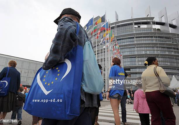 Visitors walk on the square of the European Parliament in Strasbourg eastern France on May 3 during the Open day Debates and tours music special...