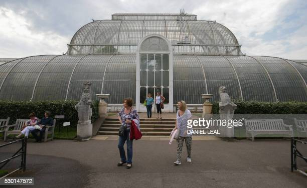 Visitors walk out of the Palm House at Kew Gardens in southwest London on May 9 2016 Britain's Royal Botanic Gardens warned on May 10 about the...