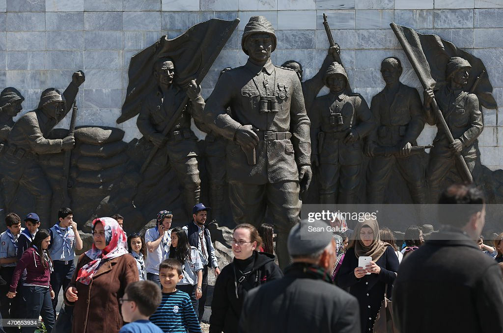 Visitors walk past a giant freize that shows Turkish Gallipoli division commander and future founder of the first Turkish Republic <a gi-track='captionPersonalityLinkClicked' href=/galleries/search?phrase=Mustafa+Kemal+Ataturk&family=editorial&specificpeople=107954 ng-click='$event.stopPropagation()'>Mustafa Kemal Ataturk</a> (C) at the Canakkale Martyrs' Memorial, which is the biggest memorial to Turkish soldiers killed during the Gallipoli Campaign, ahead of commemorations on April 22, 2015 near Sedd el Bahr, Turkey. Allied and Turkish representatives, as well as family members of those who served, will commemorate the 100th anniversary of the campaign with ceremonies scheduled for April 24-25. The Gallipoli land campaign, in which a combined Allied force of British, French, Australian, New Zealand and Indian troops sought to occupy the Gallipoli peninsula and the strategic Dardanelles strait during World War I, began on April 25, 1915 against Turkish forces of the Ottoman Empire. The Allies, unable to advance more than a few kilometers, withdrew after eight months. The campaign cost the Allies approximately 45,000 killed and up to 200,000 wounded, the Ottomans approximately 85,000 killed and 160,000 wounded.