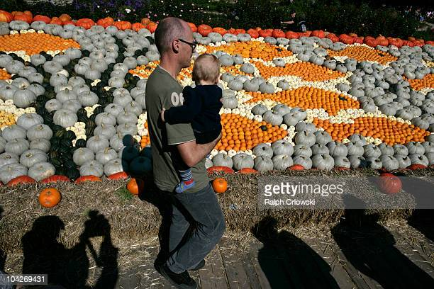 Visitors walk past arranged pumpkins during the World's largest pumpkin exibition at Ludwigsburg Castle on September 19 2010 in Ludwigsburg Germany...