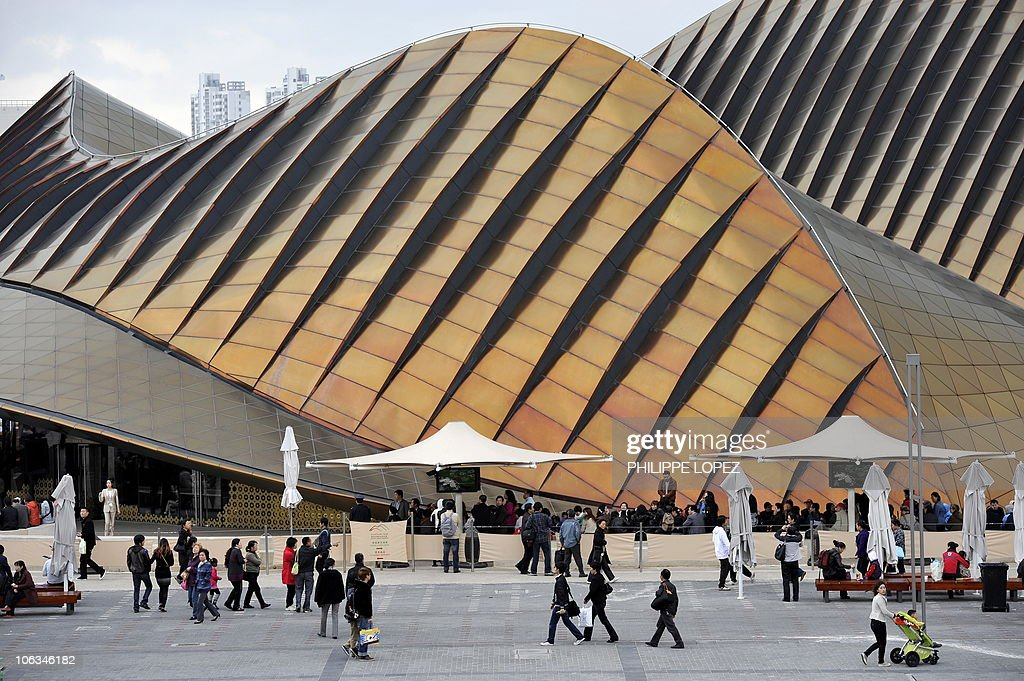 Visitors walk past the Arab Emirates pavilion at the site of the World Expo 2010 in Shanghai on October 29 2010 Shanghai on October 31 shuts the...