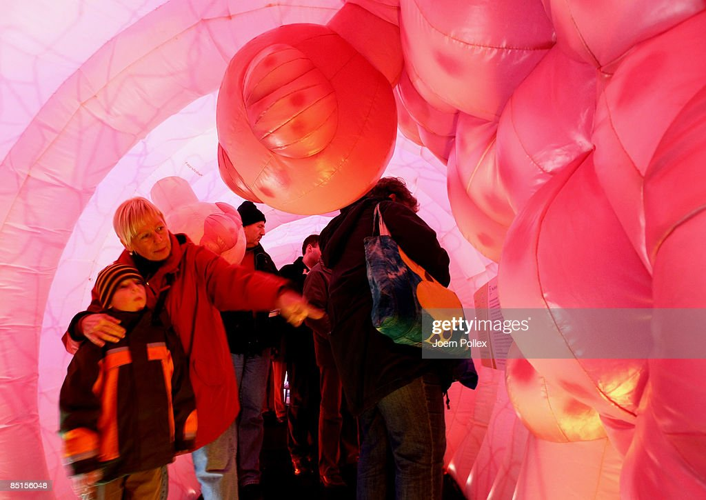 Visitors walk through a giant 20 metre long plastic bowel on February 28 2009 in Hamburg Germany The bowel is part of a cancer campaign of the...