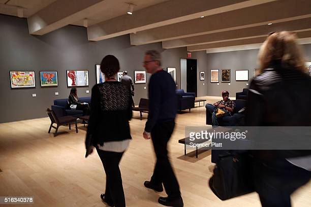 Visitors walk through the cafe on the opening day of the new museum The Met Breuer an expansion of the Metropolitan Museum of Art on March 18 2016 in...